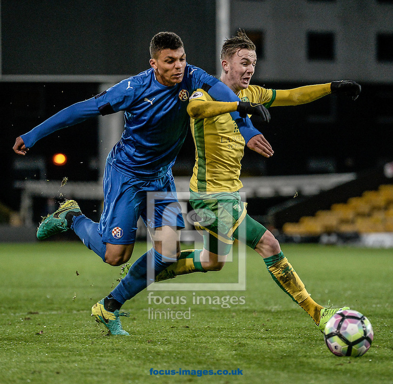 James Maddison of Norwich City U23 is fouled for the penalty versus Dinamo Zagreb U23 during the Premier League International Cup Quarter-Final match at Carrow Road, Norwich<br /> Picture by Matthew Usher/Focus Images Ltd +44 7902 242054<br /> 27/02/2017