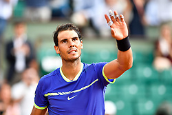 PARIS, June 2, 2017  Rafael Nadal of Spain celebrates after the men's singles 3rd round match against Nikoloz Basilashvili of Georgia at the French Open Tennis Tournament 2017 in Paris, France on June 2, 2017. (Credit Image: © Chen Yichen/Xinhua via ZUMA Wire)