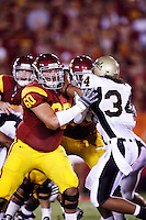 1 September 2007: #60 Drew Radovich at right tackle.   USC Trojans college football team defeated the Idaho Vandals 38-10 at the Los Angeles Memorial Coliseum in CA.  NCAA Pac-10 #1 ranked team first game of the season.