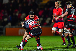 Alafoti Faosiliva of Worcester Warriors is tackled by Zane Kirchner of Dragons - Mandatory by-line: Craig Thomas/JMP - 02/02/2018 - RUGBY - Rodney Parade - Newport, Gwent, Wales - Dragons v Worcester Warriors - Anglo Welsh Cup