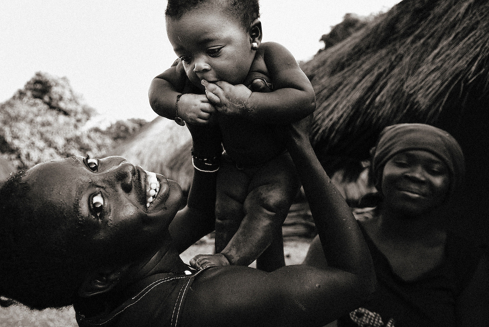 Bijagos Islands in Guinea Bissau, a newborn in a village.