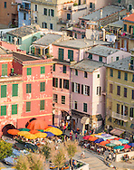 Piazza Guglielmo Marconi in Vernazza, a town and comune located in northwestern Italy.  Vernazza is the fourth town heading north in the Cinque Terre region.