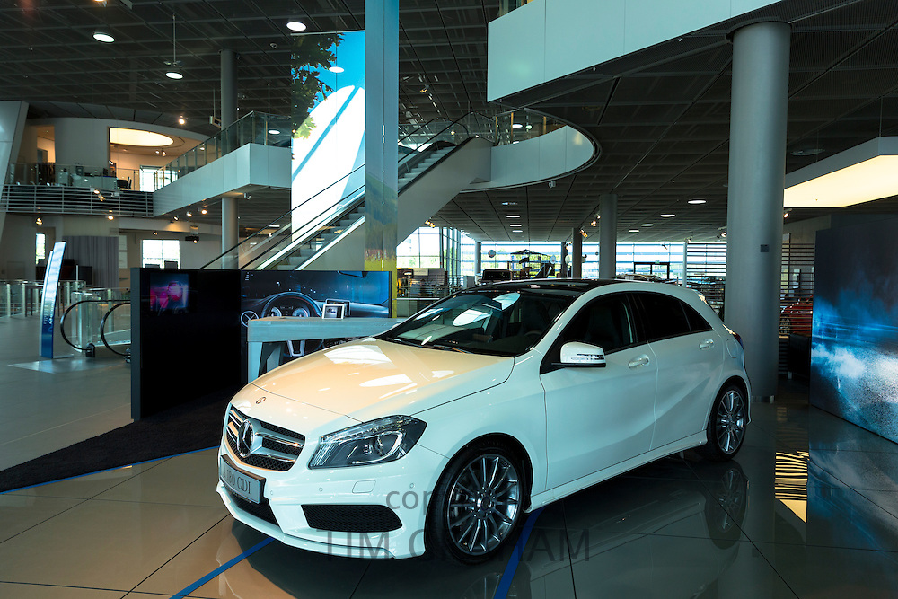 Mercedes A180 CDi four-door small saloon in Mercedes showroom gallery in Mercedesstrasse in Stuttgart, Bavaria, Germany