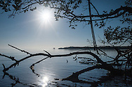 A mangrove island rests in the distance near Indian Key Pass in the Florida Everglades