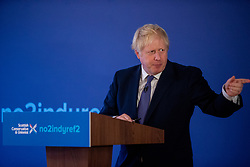 The Prime Minister, Boris Johnson answers Christine Lavelle question at the launch the Scottish Conservative General Election Manifesto 2019 at the Hilton DoubleTree Hotel, St Margarets Head, Inverkeithing.