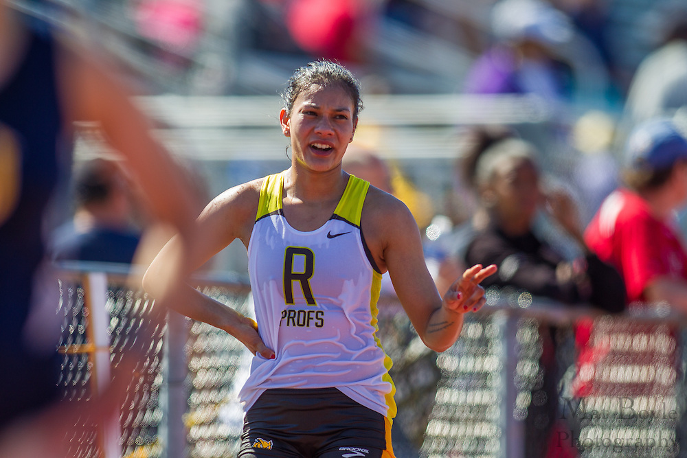 Rowan University senior Vanessa Wright wins the women's 10,000 meters at the NJAC Track and Field Championships at Richard Wacker Stadium on the campus of  Rowan University  in Glassboro, NJ on Saturday May 4, 2013. (photo / Mat Boyle)