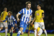 Dale Stephens, Brighton midfielder scores for Brighton during the Sky Bet Championship match between Brighton and Hove Albion and Derby County at the American Express Community Stadium, Brighton and Hove, England on 3 March 2015.
