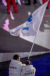 PYEONGCHANG-GUN, SOUTH KOREA - FEBRUARY 09: Vlaggendragers Chung Gum Hwang and Yunyong Won Korea during the Opening Ceremony of the PyeongChang 2018 Winter Olympic Games at PyeongChang Olympic Stadium on February 9, 2018 in Pyeongchang-gun, South Korea. Photo by Ronald Hoogendoorn / Sportida