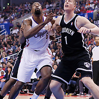 16 November 2013: Los Angeles Clippers center DeAndre Jordan (6) vies for the rebound with Brooklyn Nets power forward Mason Plumlee (1) during the Los Angeles Clippers 110-103 victory over the Brooklyn Nets at the Staples Center, Los Angeles, California, USA.