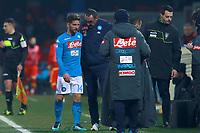Infortunio di Dries Mertens Napoli injury<br /> Benevento 04-02-2018  Stadio Ciro Vigorito<br /> Football Campionato Serie A 2017/2018. <br /> Benevento - Napoli<br /> Foto Cesare Purini / Insidefoto
