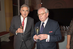 Left to right, ANTONY BEEVOR and DAVID STARKEY at a dinner to celebrate Sir David Tang's 20 year patronage of the Royal Academy of Arts and the start of building work on the Burlington Gardens wing of the Royal Academy held at 6 Burlington Gardens, London on 26th October 2015.