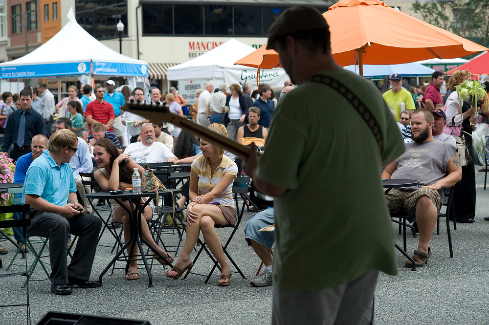 Mother Earth's Good Time Band performs at the Noon Concert Series at Market Square in downtown Pittsburgh.  The concerts are held along with the Farmers Market every Thursday on the summer months.