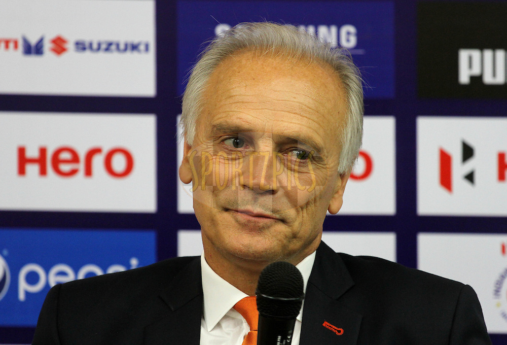 FC Pune City coach Franco Colomb during the press conference of match 17 of the Hero Indian Super League between FC Pune City and Kerala Blasters FC held at the Shree Shiv Chhatrapati Sports Complex Stadium, Pune, India on the 30th October 2014.<br /> <br /> Photo by:  Vipin Pawar/ ISL/ SPORTZPICS