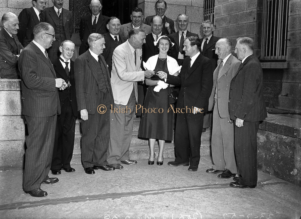 23/7/1952<br /> 7/23/1952<br /> 23 July 1952<br /> <br /> Presentation to Deputy Liam Cosgrave by Members of Fine Gael Party on the occasion of his Marriage