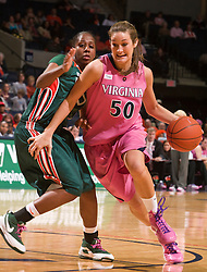 Virginia forward Chelsea Shine (50) in action against Miami.  The #21 ranked Virginia Cavaliers defeated the Miami Hurricanes 85-74 in overtime at the John Paul Jones Arena in Charlottesville, VA on February 19, 2009.