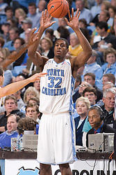 28 December 2006: North Carolina Tarheel forward (32) Alex Stepheson during a 87-48 Rutgers Scarlet Knights loss to the North Carolina Tarheels, in the Dean Smith Center in Chapel Hill, NC.<br />