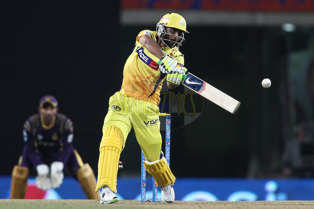 Ravindra Jadeja of The Chennai Super Kings pulls a delivery straight to the boundary during match 21 of the Pepsi Indian Premier League Season 2014 between the Chennai Superkings and the Kolkata Knight Riders  held at the JSCA International Cricket Stadium, Ranch, India on the 2nd May  2014<br /> <br /> Photo by Shaun Roy / IPL / SPORTZPICS<br /> <br /> <br /> <br /> Image use subject to terms and conditions which can be found here:  http://sportzpics.photoshelter.com/gallery/Pepsi-IPL-Image-terms-and-conditions/G00004VW1IVJ.gB0/C0000TScjhBM6ikg