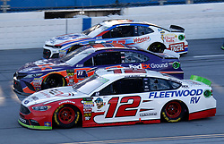 October 14, 2018 - Talladega, AL, U.S. - TALLADEGA, AL - OCTOBER 14: #12: Ryan Blaney, Team Penske, Ford Fusion REV, #11: Denny Hamlin, Joe Gibbs Racing, Toyota Camry FedEx Ground and #47: A.J. Allmendinger, JTG Daugherty Racing, Chevrolet Camaro Kroger ClickList  during the runinng of the 1000Bulbs.com500 on Sunday October 14, 2018 at Talladega SuperSpeedway in Talladega Alabama (Photo by Jeff Robinson/Icon Sportswire) (Credit Image: © Jeff Robinson/Icon SMI via ZUMA Press)