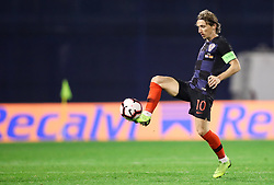 Luka Modric of Croatia during the UEFA Nations League football match between Croatia and Spain, on November 15, 2018, at the Maksimir Stadium in Zagreb, Croatia. Photo by Morgan Kristan / Sportida