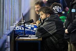 17.02.2015, Hala Tivoli, Ljubljana, SLO, EBEL, HDD Telemach Olimpija Ljubljana vs EC KAC, 4. Qualification Round, in picture Joze Rojko - Joc, announcer in Hala Tivoli, during the Erste Bank Icehockey League 4. Qualification Round between HDD Telemach Olimpija Ljubljana and EC KAC at the Hala Tivoli, Ljubljana, Slovenia on 2015/02/17. Photo by Morgan Kristan / Sportida