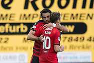 Dundee new boy Sofien Moussa is congratulated by Scott Allan after scoring on his debut - Raith Rovers v Dundee, Betfred Cup at Starks Park, Kirkcaldy, Photo: David Young<br /> <br />  - &copy; David Young - www.davidyoungphoto.co.uk - email: davidyoungphoto@gmail.com