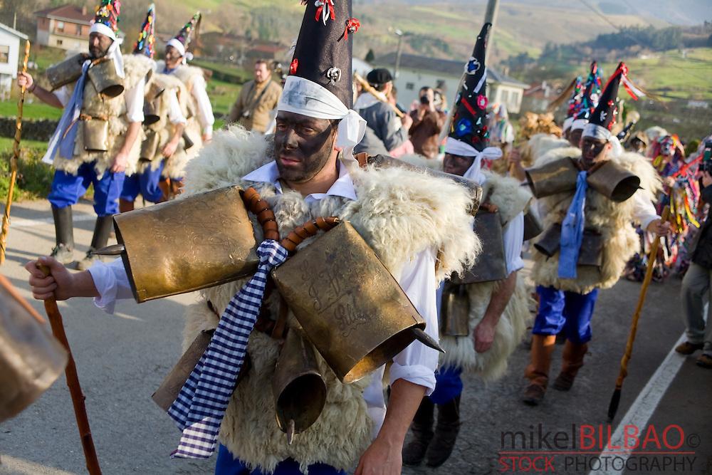&quot;Zarramacos&quot; character in La Vijanera carnival fest.<br /> Cantabria, Spain