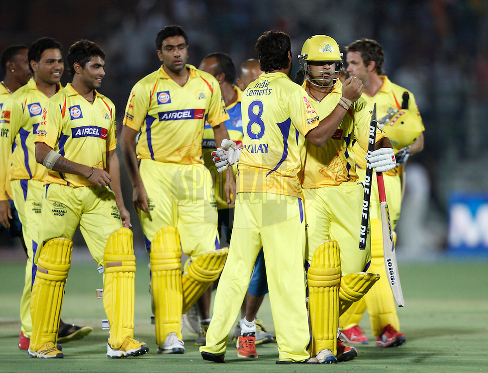 Chennai Super King players celebrates after victory during match 56 of the the Indian Premier League ( IPL) 2012  between The Rajasthan Royals and the Chennai SUperkings held at the Sawai Mansingh Stadium in Jaipur on the 10th May 2012..Photo by Pankaj Nangia/IPL/SPORTZPICS
