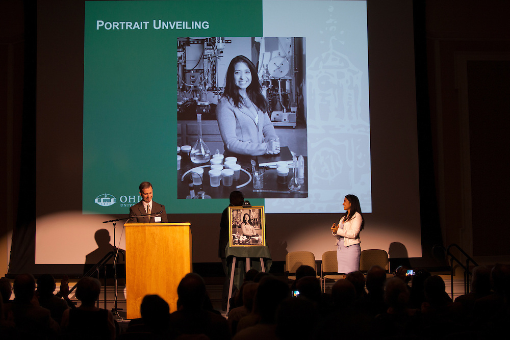 Dr. Gerardine Botte's Distinguished Professor Portrait is unveiled in Baker Ballroom. Photo by Kaitlin Owens