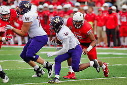 NORMAL, IL - October 06: Steve McShane chased by Jason Harris during a college football game between the ISU (Illinois State University) Redbirds and the Western Illinois Leathernecks on October 06 2018 at Hancock Stadium in Normal, IL. (Photo by Alan Look)