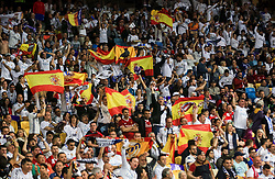 Supporters of Real Madrid celebrate during the UEFA Champions League final football match between Liverpool and Real Madrid at the Olympic Stadium in Kiev, Ukraine on May 26, 2018.Photo by Sandi Fiser / Sportida