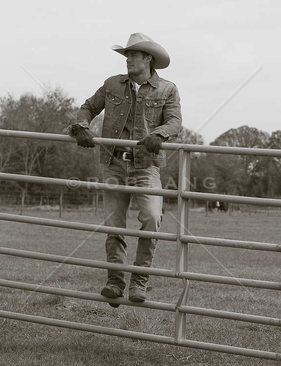 cowboy standing on a metal fence on a ranch