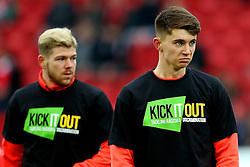 Ben Woodburn and Alberto Moreno of Liverpool warm up wearing anti racism Kick it Out T Shirts - Mandatory by-line: Matt McNulty/JMP - 21/01/2017 - FOOTBALL - Anfield - Liverpool, England - Liverpool v Swansea City - Premier League