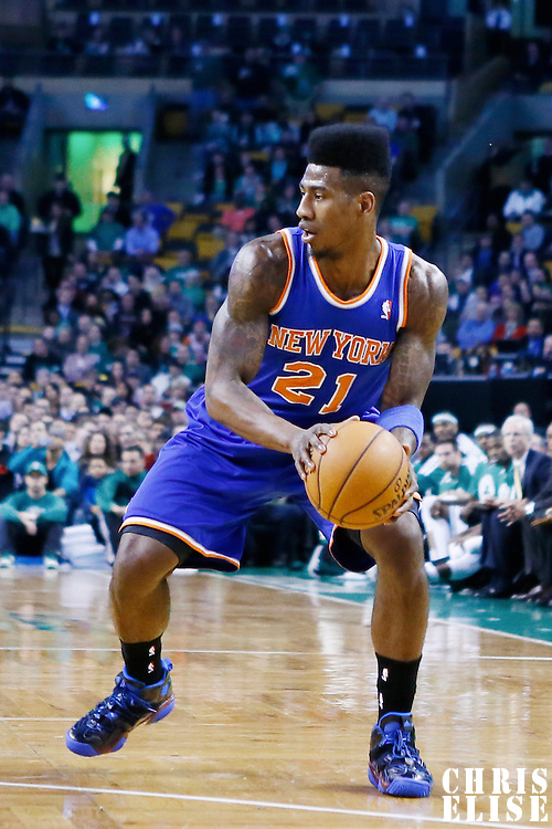 26 March 2013: New York Knicks small forward Iman Shumpert (21) dribbles during the New York Knicks 100-85 victory over the Boston Celtics at the TD Garden, Boston, Massachusetts, USA.