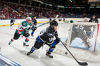 KELOWNA, CANADA - SEPTEMBER 2: Right wing Liam Kindree #26 of the Kelowna Rockets back checks center Dante Hannoun #19 of the Victoria Royals behind the net during third period on September 2, 2017 at Prospera Place in Kelowna, British Columbia, Canada.  (Photo by Marissa Baecker/Shoot the Breeze)  *** Local Caption ***