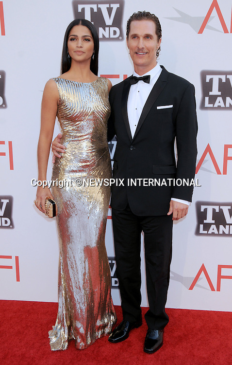 """MATHEW McCONAUGHEY AND CAMILA ALVES.attend TV Land Presents: The AFI Life Achievement Awards Honoring Morgan Freeman at Sony Pictures Studios, Culver City, California_9 June 2011.Mandatory Photo Credit: ©Crosby/Newspix International. .**ALL FEES PAYABLE TO: """"NEWSPIX INTERNATIONAL""""**..PHOTO CREDIT MANDATORY!!: NEWSPIX INTERNATIONAL(Failure to credit will incur a surcharge of 100% of reproduction fees)..IMMEDIATE CONFIRMATION OF USAGE REQUIRED:.Newspix International, 31 Chinnery Hill, Bishop's Stortford, ENGLAND CM23 3PS.Tel:+441279 324672  ; Fax: +441279656877.Mobile:  0777568 1153.e-mail: info@newspixinternational.co.uk"""