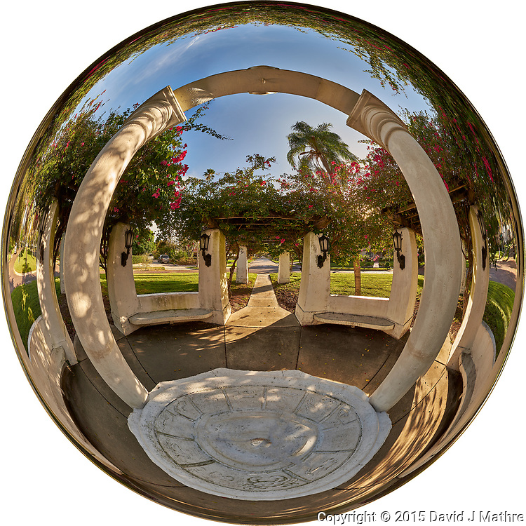 Mirror Ball View of Granada Terrace Park in St. Petersburg, Florida. Composite of 27 images taken with a Fuji X-T1 camera and 8 mm f/2.8 fisheye lens. Images processed with AutoPano Giga Pro.