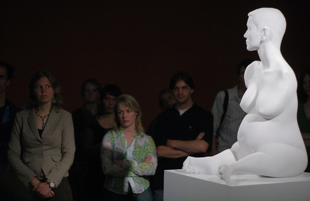 Watching the exhibit 'Recent Sculpture' by British artist Marc Quinn in the Groninger Museum.