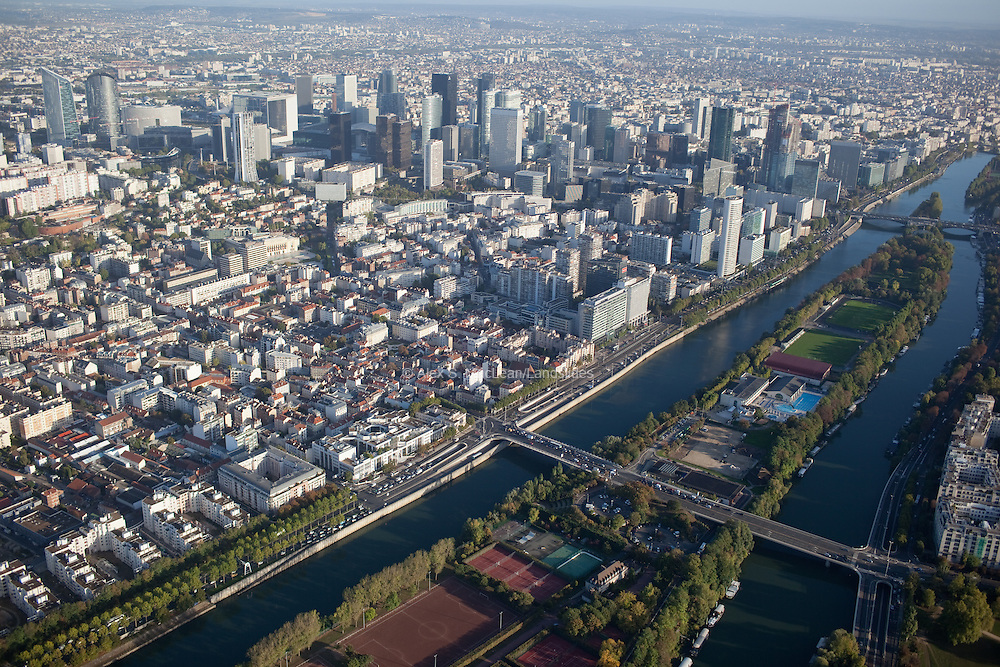 View of La Defense from La Seine river.