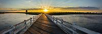 Panoramic view of the Osborne Bridge in Idaho at sunrise.