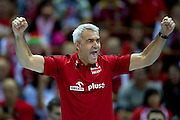 Andrea Anastasi trainer coach team of Poland during the 2013 CEV VELUX Volleyball European Championship match between Poland v Slovakia at Ergo Arena in Gdansk on September 22, 2013.<br /> <br /> Poland, Gdansk, September 22, 2013<br /> <br /> Picture also available in RAW (NEF) or TIFF format on special request.<br /> <br /> For editorial use only. Any commercial or promotional use requires permission.<br /> <br /> Mandatory credit:<br /> Photo by &copy; Adam Nurkiewicz / Mediasport