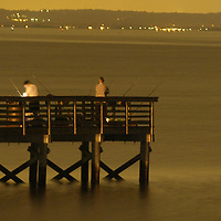 (SPORTS)  Port Monmouth  4/19/2002  Fisherman try there luck on the fishing pier at the Spy House Museum ( now a Monmouth County Park) late Thursday Night.  Michael J. Treola Staff Photographer...........MJT