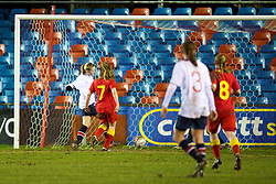 NEWTOWN, WALES - Friday, February 1, 2013: Norway's Mia Voltersvik scores the second goal against Wales during the Women's Under-19 International Friendly match at Latham Park. (Pic by David Rawcliffe/Propaganda)