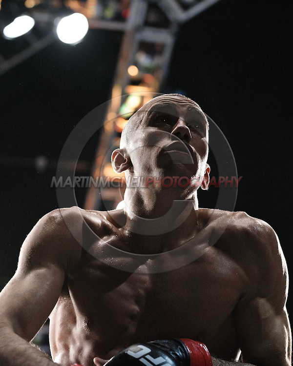 "MANCHESTER, ENGLAND, NOVEMBER 14, 2009: Terry Etim celebrates his submission win at ""UFC 105: Couture vs. Vera"" inside the MEN Arena in Manchester, United Kingdom."