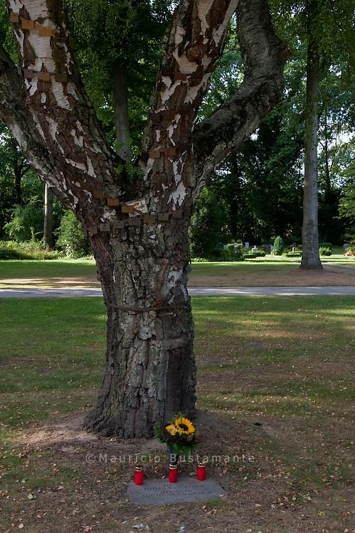 """Gedenkbaum,  Öjendorfer Friedhof. Ihr seid nicht vergessen.  Gedenkbaum für zu Lebzeiten obdachlose Menschen..""""Hinz und Kunzt"""" ist das Hamburger Straßen-Magazin. Verstorbene Verkäufer aus dem Kreis der obdachlosen Menschen werden häufig anonym beerdigt. Neuerdings gibt es einen Gedenkbaum auf dem Öjendorfer Friedhof"""