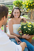 Couple with Potted Plant