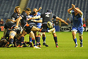 Box kick from Henry Pyrgos during the Guinness Pro 14 2018_19 match between Edinburgh Rugby and Dragons Rugby at Murrayfield Stadium, Edinburgh, Scotland on 15 February 2019.