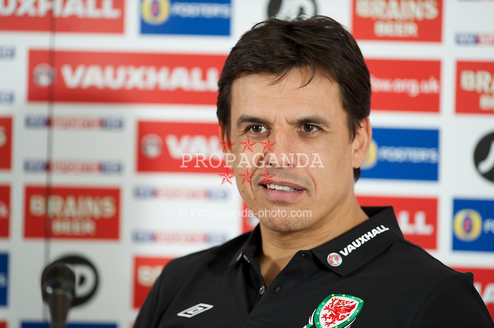 CARDIFF, WALES - Tuesday, February 5, 2013: Wales' manager Chris Coleman during a press conference at the St. David's Hotel ahead of the International Friendly against Austria. (Pic by David Rawcliffe/Propaganda)