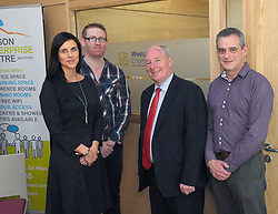 Westport Chamber of Commerce personnel pictured with Michael Ring Minister for Rural and Community Development at the opening of the Leeson Enterprise Centre, Stephanie Colombani, Andy Reilly and Colin Clarke.<br />Pic Conor McKeown