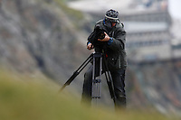 Photographer in the field (model release 02/08/HTNP), Hohe Tauern National Park, Carinthia, Austria