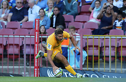 Santiago Cordero of the Jaguares runs in a try during the Super Rugby match between DHL Stormers and Jaguares held at DHL Newlands in Cape Town, South Africa on the 4th March 2017.<br /> <br /> Photo by Ron Gaunt/Villar Press